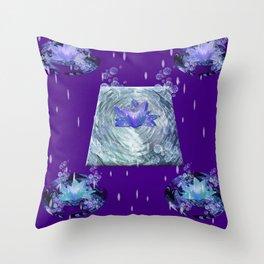 Water Lily Rain Throw Pillow