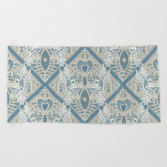love bird lace blue Beach Towel