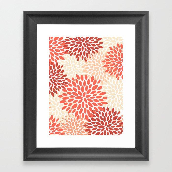 Floral Pattern, Living Coral, Peach, Floral Prints Gerahmter Kunstdruck