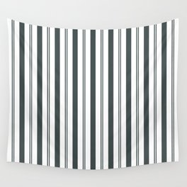 PPG Night Watch Pewter Green & White Wide & Narrow Vertical Lines Stripe Pattern Wall Tapestry