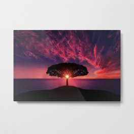 Purple Coastal Sunset with Lonely One Tree Hill color photograph / photography Metal Print