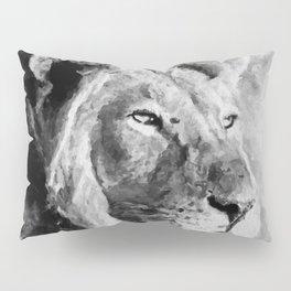 Lion Black and White  Mixed Media Digital Art Pillow Sham