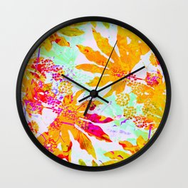 Tropical Adventure - Neon Orange, Pink and Mint Wall Clock