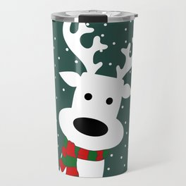 Reindeer in a snowy day (green) Travel Mug