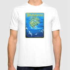 An Isolated Land Set in a Foam-White Fringe White Mens Fitted Tee MEDIUM
