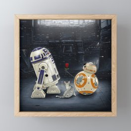 LOVE DROID & THE CAT Framed Mini Art Print