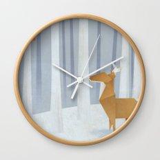 Origami deer in the Woods Wall Clock