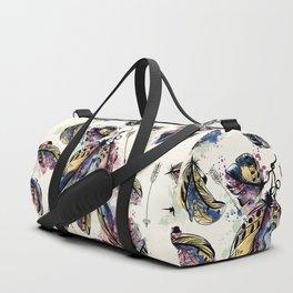 Be wild. Boho watercolor feathers. Fashion Duffle Bag