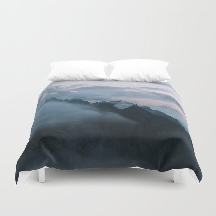Dolomite Mountains Sunset covered in Clouds - Landscape Photography Duvet Cover