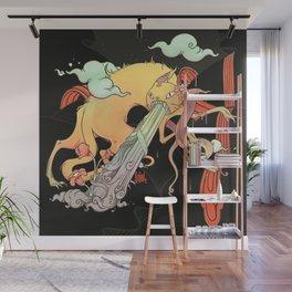 Strange Cat And Snake Surreal Art Wall Mural