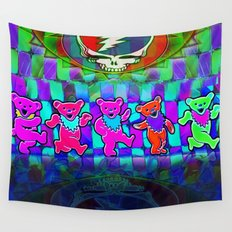 Dancing Bears #4 Grateful Dead Jerry Garcia Tribute Vibrant Psychedelic Characters Wall Tapestry