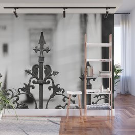 New Orleans Marigny Black and White Fence Wall Mural