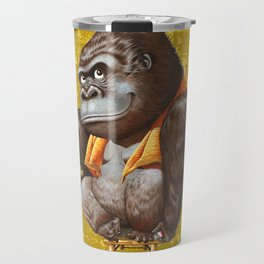 Relaxing Gorilla on Gold-leaf Screen Travel Mug