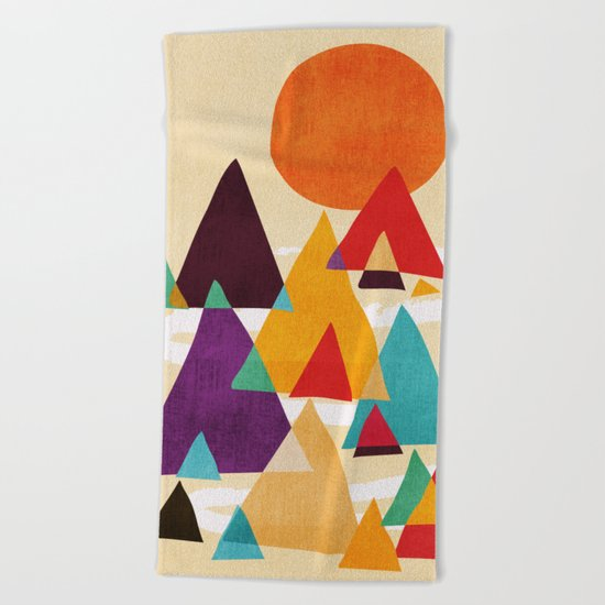 Let's visit the mountains Beach Towel