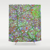 maps Shower Curtains featuring Fantasy City Maps 2 by MehrFarbeimLeben
