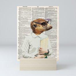 Meerkat Print, Geek nerd glasses, Safari African Animal,GEEK NERD, Art, vintage dictionary page book Mini Art Print