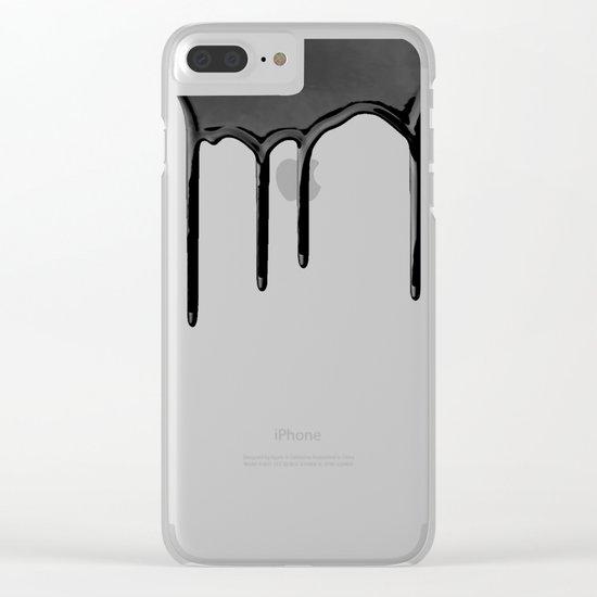 Black paint drip Clear iPhone Case
