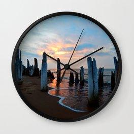 Pillars of the Past at Dusk Wall Clock
