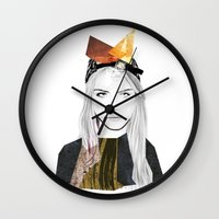 cara delevingne Wall Clocks featuring CARA DELEVINGNE by Nora Fikse