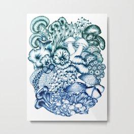 A Medley of Mushrooms in Blue Metal Print