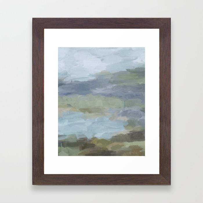 Diptych ii sky gray blue sage green abstract wall art painting art lake nature print portrait framed art print