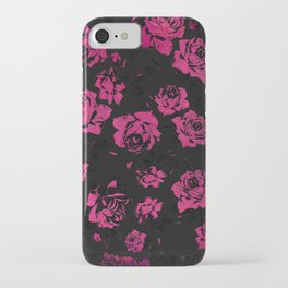 Girly Pink Rustic Floral Roses and Black Pattern iPhone Case