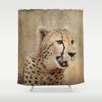 cheetah Shower Curtains featuring Cheetah by Jai Johnson