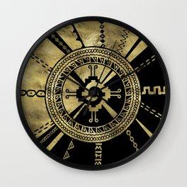 Hunab Ku Mayan symbol Black & Gold Wall Clock