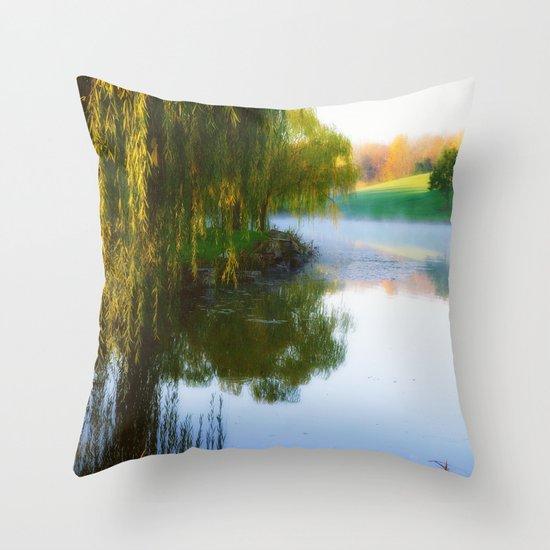 Morning mist on Schnormeier pond Throw Pillow