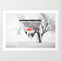 flamingo Art Prints featuring Flamingo by Mehdi Elkorchi