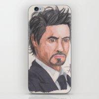 robert downey jr iPhone & iPod Skins featuring Robert Downey Jr. by Adrian Casanova