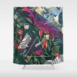 Floral Memphis Style Shower Curtain