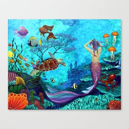 A Fish of a Different Color - Mermaid and seaturtle Canvas Print