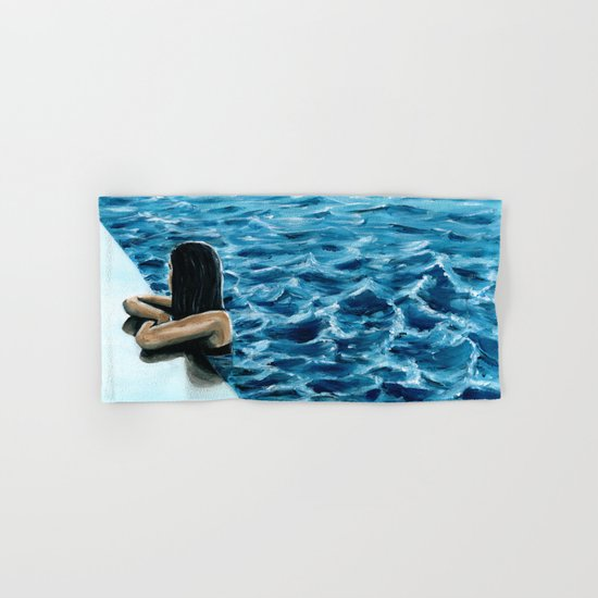 girl in the pool Hand & Bath Towel