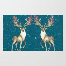 Deers With Birds Teal #society6 #buyart Rug