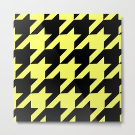 Baby Yellow Houndstooth Metal Print