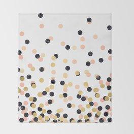 Pink & Black Polka Dots Throw Blanket