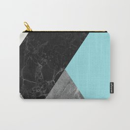 Black and White Marbles and Pantone Island Paradise Color Carry-All Pouch