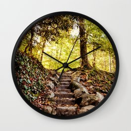 Rock Stairway Cades Cove Tennessee by Alli Gunter Photography Wall Clock