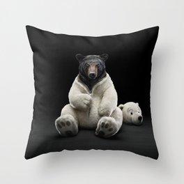 Bear Black & White Throw Pillow