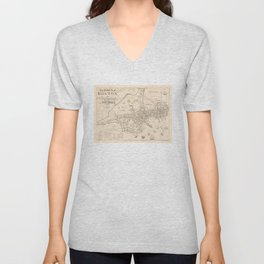 Vintage Map of The Town of Boston MA (1835) Unisex V-Neck