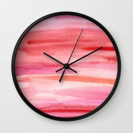 Cherry Stripes Abstract Watercolor Wall Clock
