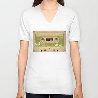 tape V-neck T-shirts featuring Mix-Tape by @DrunkSatanRobot