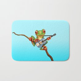 Tree Frog Playing Acoustic Guitar with Flag of Argentina Bath Mat