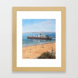 Bournemouth Pier summer morning from cliff top Framed Art Print