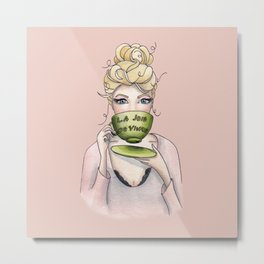 Margaux and her cup of tea Metal Print