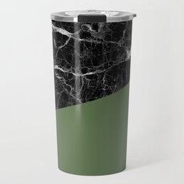 Black Marble and Kale Color Travel Mug