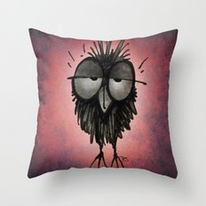 Funny Sleepy Owl on Pink Throw Pillow
