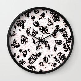 Tripple Terrazzo - Rose Pink Black & White Modern Speckle Pattern Wall Clock