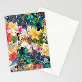 tiger and colorful flowers Stationery Cards